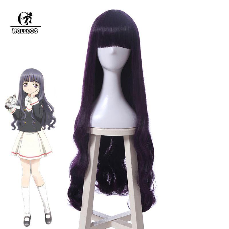 ROLECOS Anime Cosplay Cardcaptor Clearcard Sakura Daidouji Tomoyo Headwear Long Purple Hair Accessories Cosplay Synthetic Hair