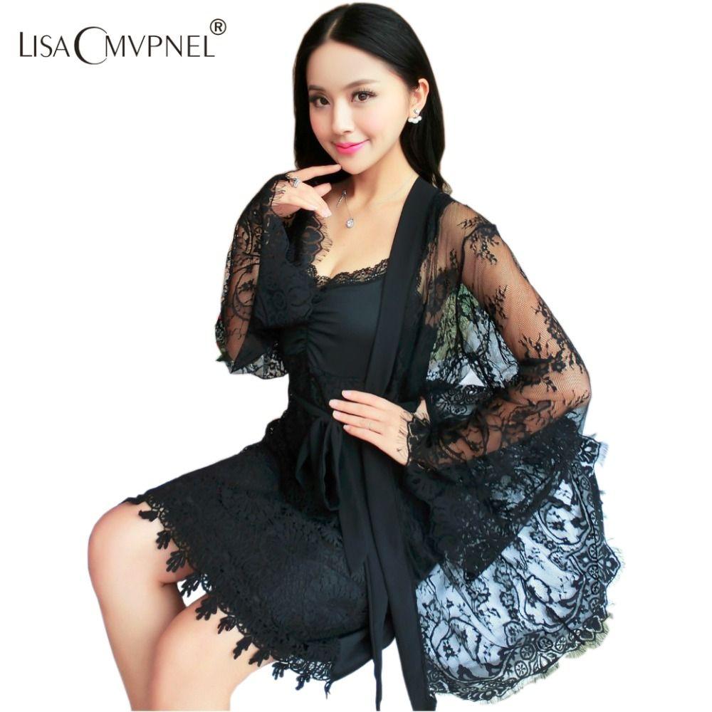 Район сексуальная завернутый груди Для женщин халат комплект Спагетти ремень с бюстгальтер ночная рубашка Кружево прозрачный халат