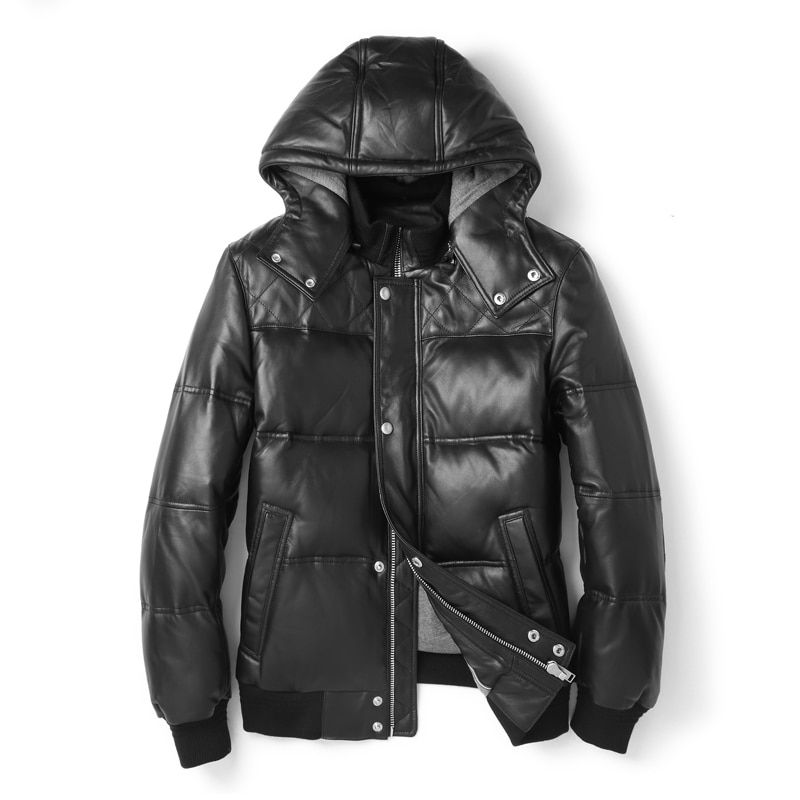 Winter Leather Jacket Hood Mens Short Guaranteed Genuine Leather Down Jacket Male Bomber Jacket Winter Coat Men Bread Coat Short