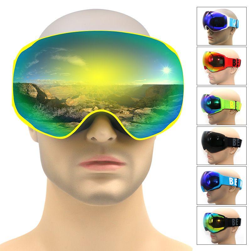 Профессиональный бренд лыжные очки двойной линзы Анти-Туман UV400 снег очки Лыжные Сноуборд Очки мужские и женские зимние маска очки для