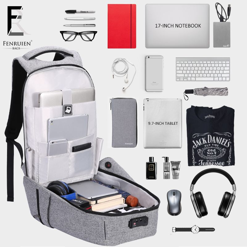 2018 FENRUIEN New Anti-thief USB Recharging Men Backpack Laptop TSA Lock Design Men Business Fashion Message Backpack Travel