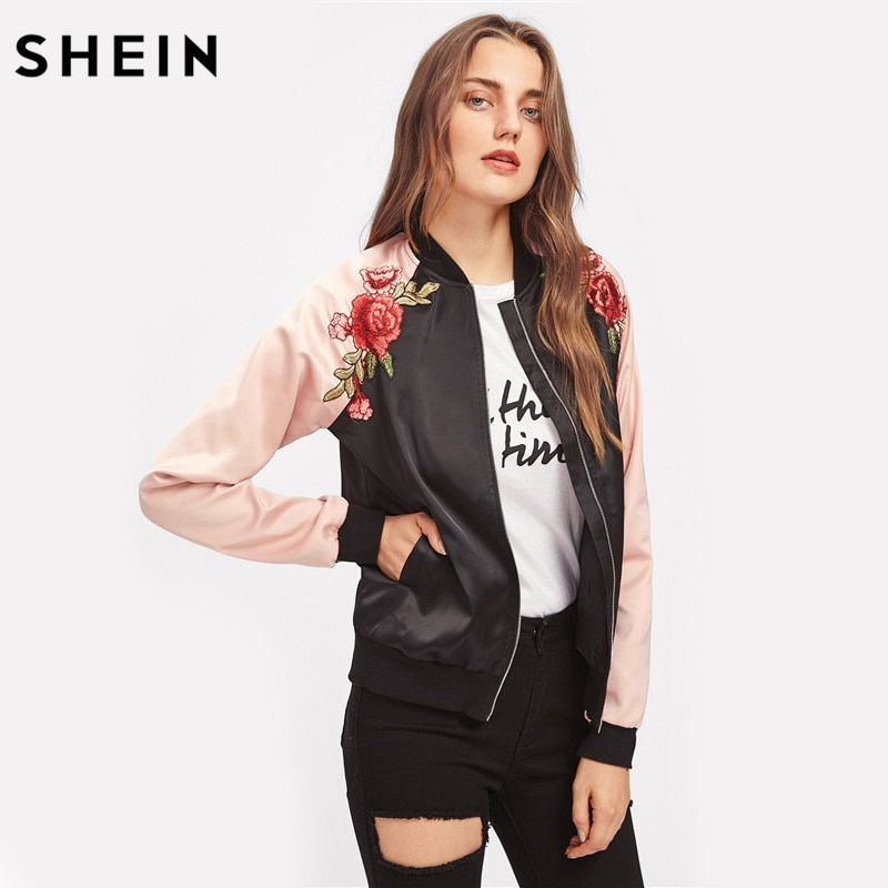 SHEIN Symmetric Embroidery Patch Contrast Raglan Sleeve Bomber Jacket Women Color Block Zipper Autumn Casual Jackets