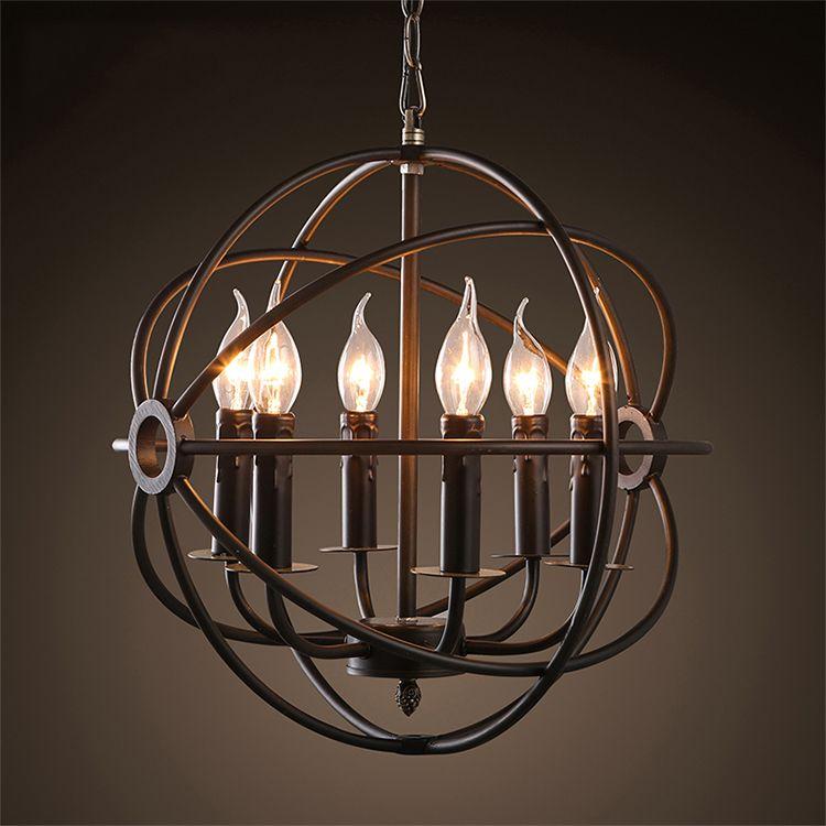 Vintage Orb Chandelier Lighting Black Candle Chandeliers Industrial Pendant Hanging Light for Home Hotel Living Dining Room
