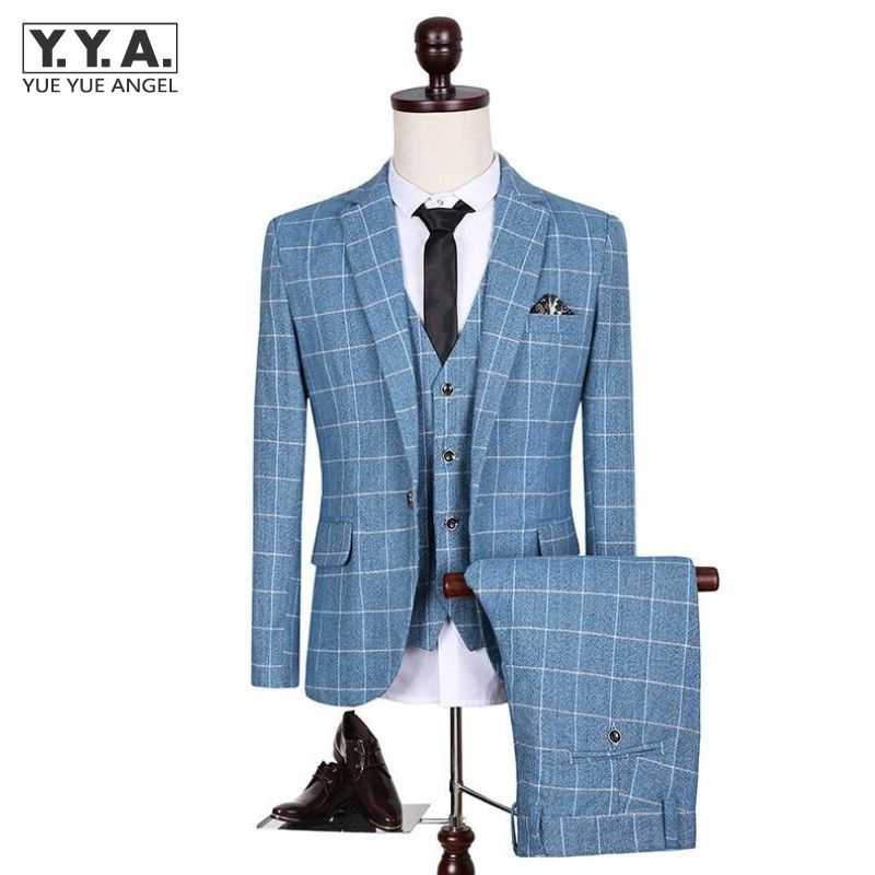 New Brand Casual Plaid Gentleman Suits Korean Trend Suits Male Bridegroom Slim Fit Suits For Men 3 Piece (Jacket+Pants+Vest)