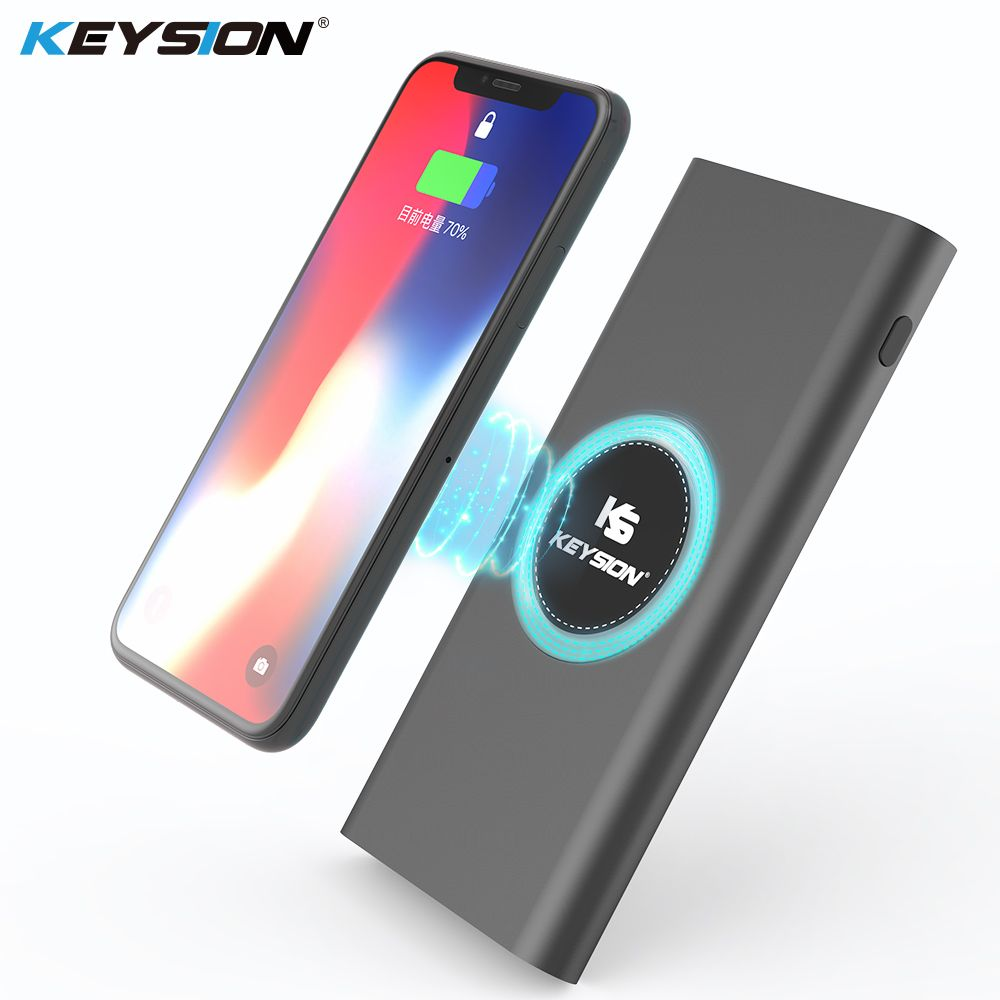 KEYSION 10000mAh Qi wireless charger Power Bank Fast Charging Phone External Battery Metal Powerbank for iPhone XS Max XR X 8 S9