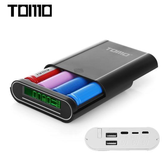 TOMO S4 Power 18650 Li-Ion Ladegerät DIY Intelligente Energienbank Typ c/Micro/8 pin Eingang Dual-ausgang ohne batterie