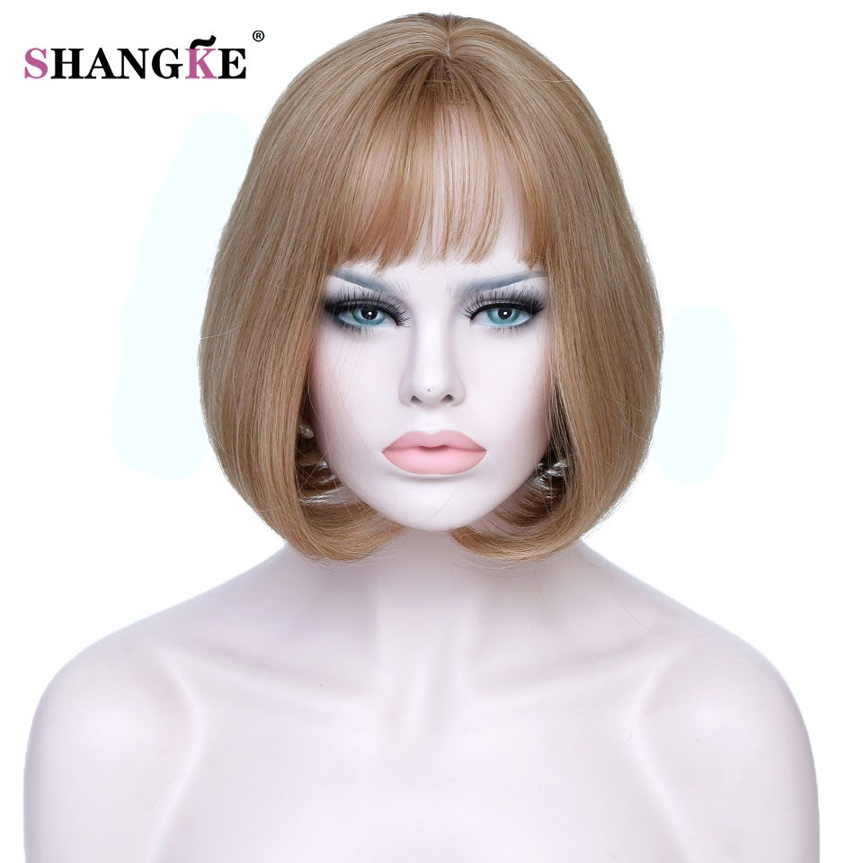 SHANGKE Short Blonde Bob Hair Wig Women Heat Resistant Blonde Synthetic Wigs For Black White Women Natural Fake Hair Pieces