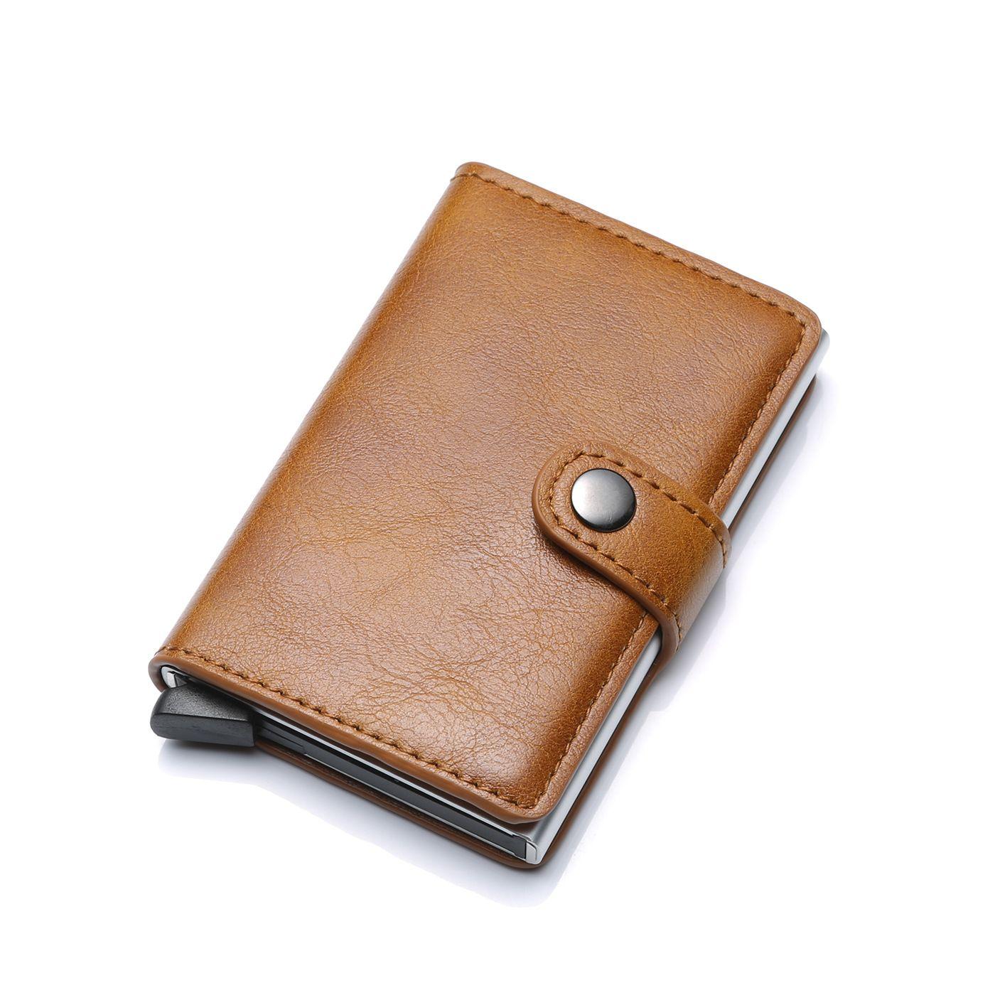Nouveau Anti-vol automatique carte de crédit porte-monnaie hommes en aluminium portefeuille poche arrière ID support de carte rfid bloquant Mini portefeuille magique