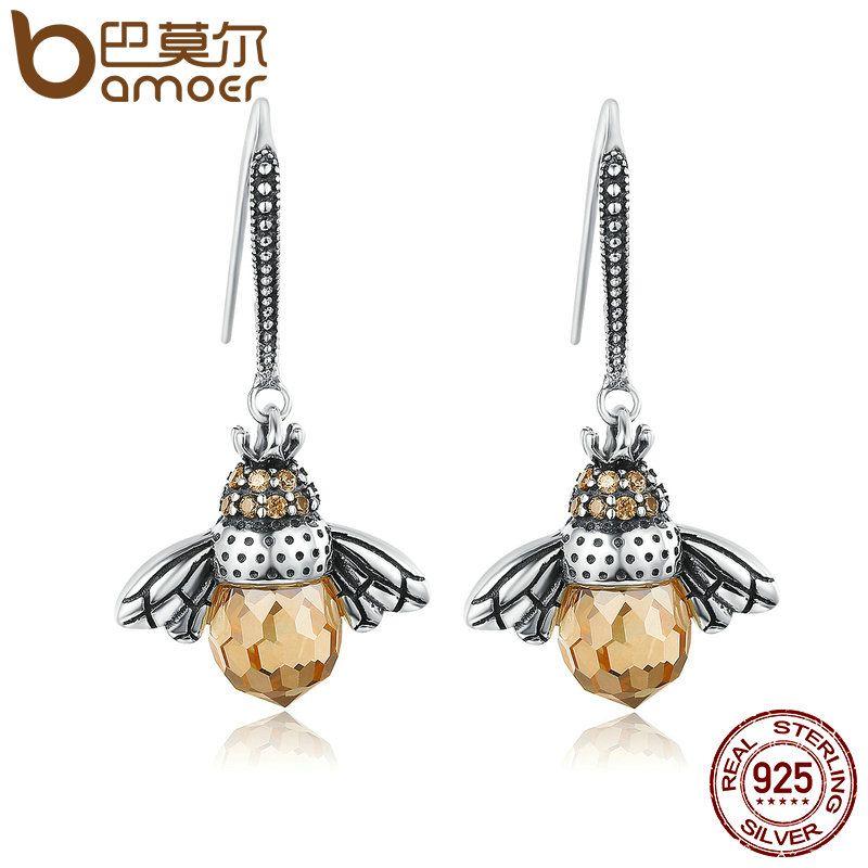 BAMOER Hot Sale <font><b>Genuine</b></font> 925 Sterling Silver Lovely Orange Bee Animal Drop Earrings for Women Fine Jewelry Gift Bijoux SCE149