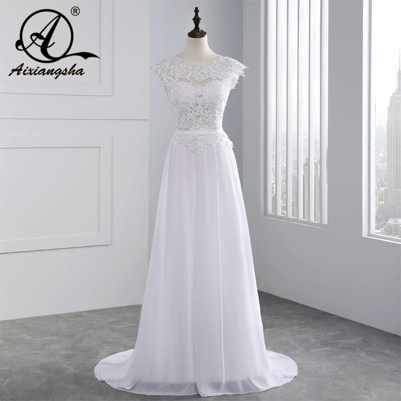 2018 Hot Selling Custom Made A Line Wedding <font><b>Dresses</b></font> Vestido de Noiva Casamento Chiffon Lace See through Backless Robe De Mariage