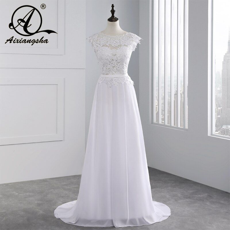 2018 Hot Selling Custom Made A Line Wedding Dresses Vestido de Noiva Casamento Chiffon Lace See through Backless Robe De Mariage