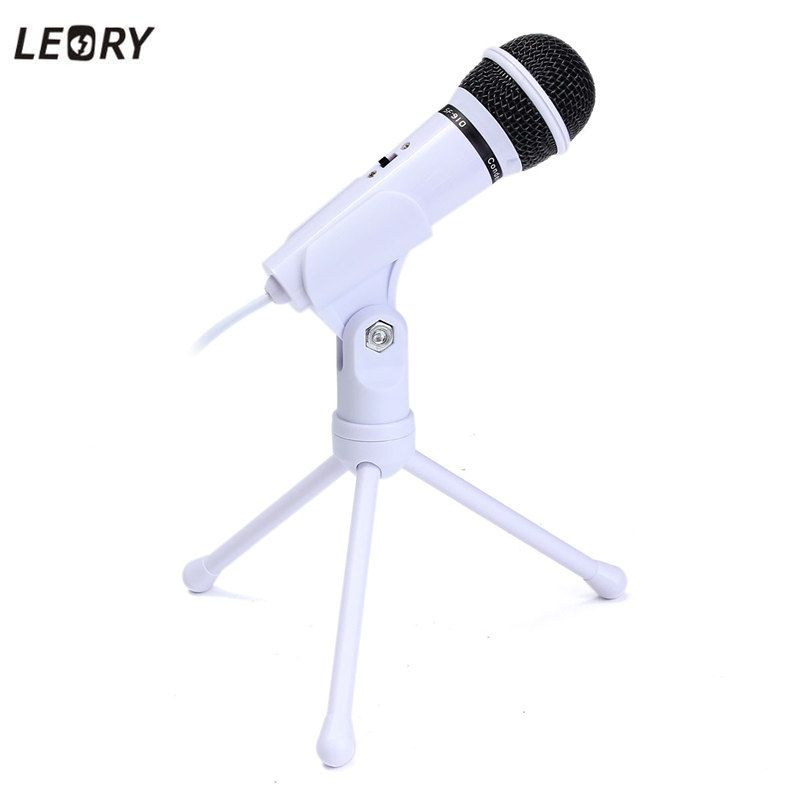 LEORY Condenser Microphone 3.5mm Wired Dynamic Stereo Desktop Microphones Mic With Stand Holder For PC Laptop Broadcast Record