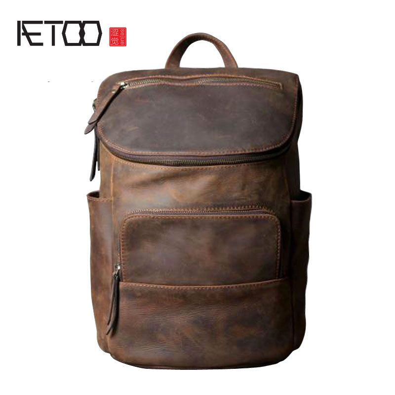 AETOO Original leather shoulder bag men and women backpack handmade retro classic multi - purpose bag