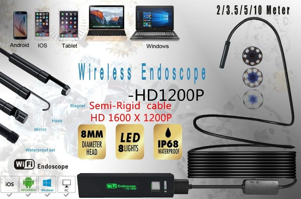 XINFICAM Wifi endoscope camera 8mm 1200P HD for Android iOS iphone Wire pipe Snake Camera car inspection camera Semi-rigid cable