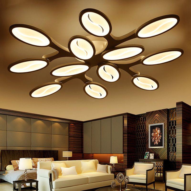 Neu Gestaltete LED Kronleuchter Kreative SMD LED Lichtquelle Baum Form Weiß Acryl Lampenschirm Wohnzimmer Kaffee Haus Beleuchtung