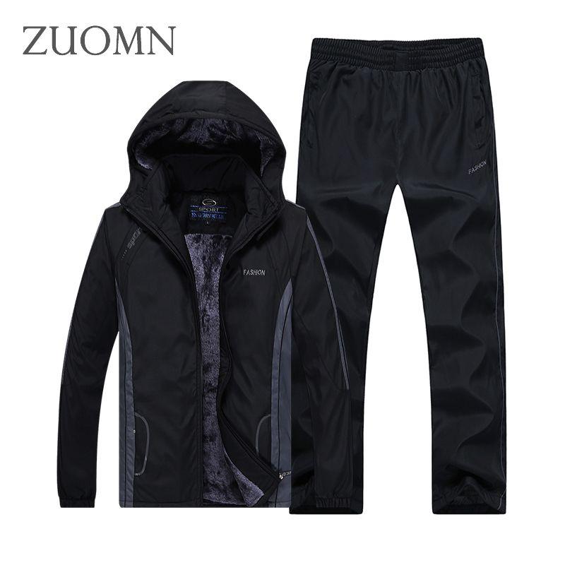 Herren Sportswear Sets Moleton Samt Hoodie Männlich Anzug Plus Größe Sets männer Oberbekleidung Mantel Warme Set Hosen + jacken Y376