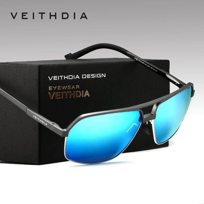 VEITHDIA Hommes de Aluminium En Alliage De Magnésium lunettes de Soleil Polarisées Hommes Carré Cru Mâle lunettes de Soleil Lunettes Accessoires Google 6521