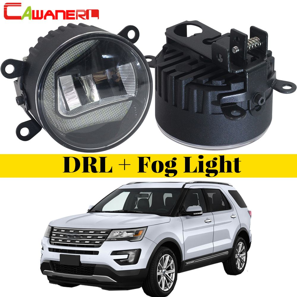 Cawanerl For Ford Explorer 2011 2012 2013 2014 Car LED Fog Light DRL Daytime Running Lamp White 12V Styling High Bright 2 Pieces