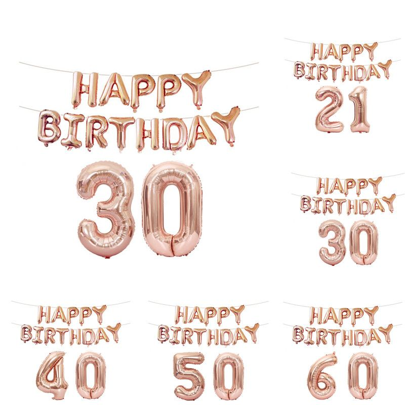 FUDANL 15pcs 16inch Rose Gold Number Letter Balloons Birthday Party Balloons 18 21 30 40 50 60th Adult Birthday Party Decoration