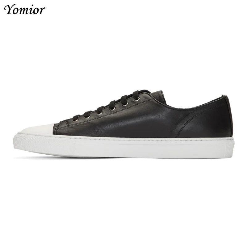 Yomior Neue Design Handgemachte Weiße Schuhe Männer Gentleman Kuh Leder Lace-Up Casual Schuhe Mode Rosa Blau Wohnungen Unisex müßiggänger