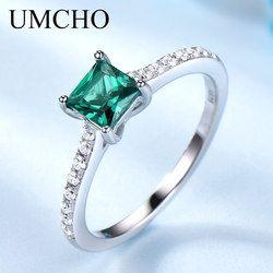 UMCHO зелёный Изумрудный камень кольца для Для женщин натуральная 925 пробы серебряные Модные камень для родившихся в мае Кольцо Романтический...