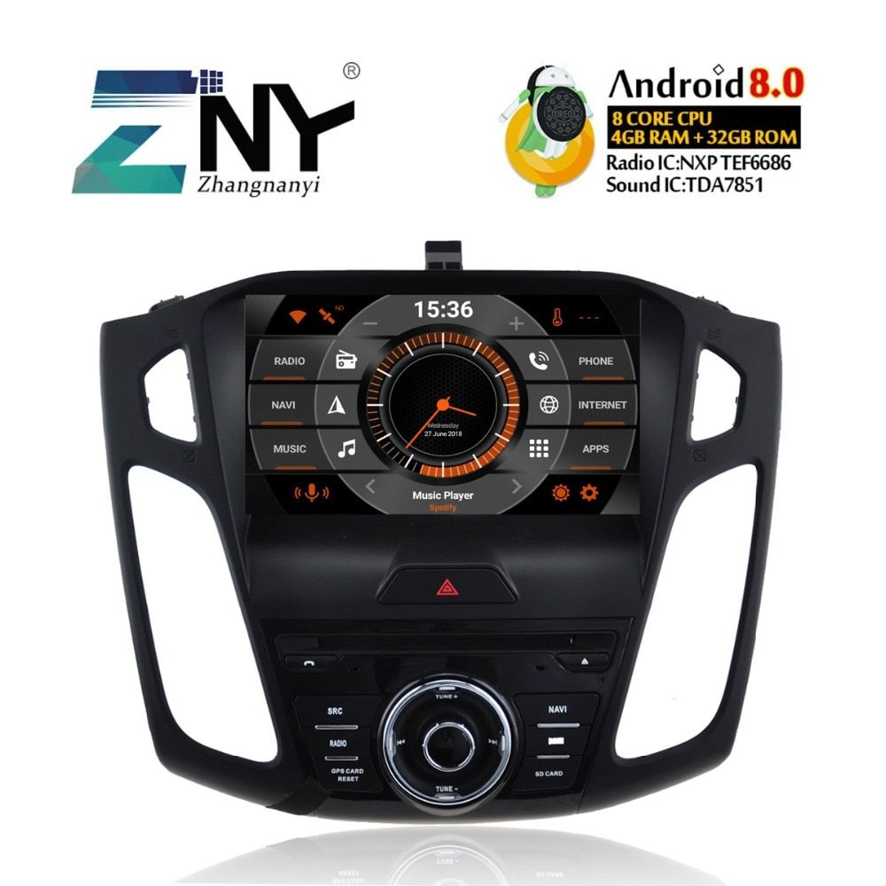 4 gb RAM Android 8.0 Auto DVD Für 2012 2013 2014 2015 2016 2017 Fokus Auto Audio Video Radio Stereo WiFi GPS Navigation Backup Cam