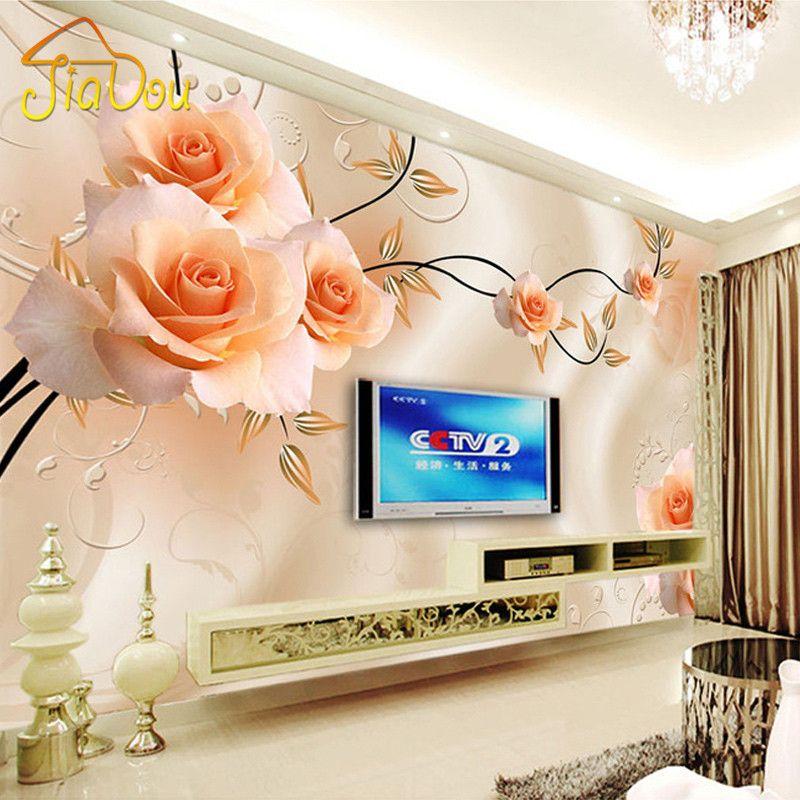Custom Photo Mural Wallpaper Luxury Villas TV Backdrop Papel De Parede 3D Wallpaper For Walls Warm Rose Wall Papers Home Decor