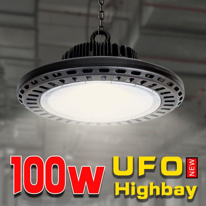 Garage beleuchtung 100 w led ufo hohe bay leistungsfähige lichter größer bau lampe industrielle licht lampe für arbeit 110 v 220 v aluminium