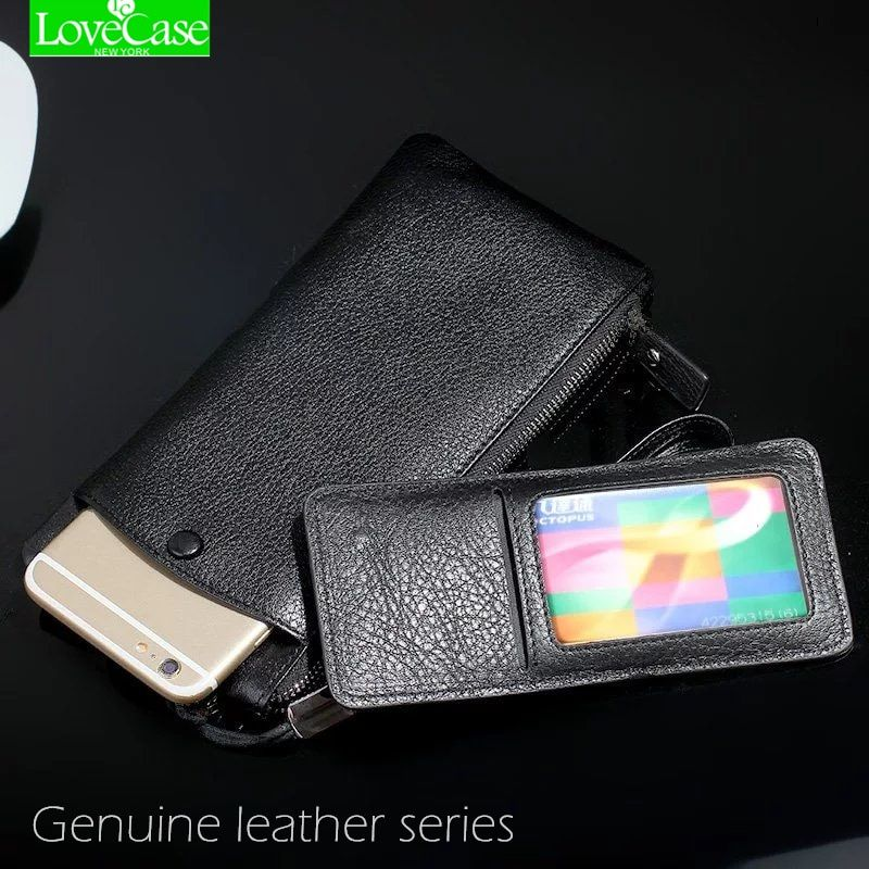 LoveCase 100% Genuine leather phone bag Universal 1.0~6 For iphone X 8 6 6s 7 Plus 8Plus <font><b>huawei</b></font> P9 P10 mate9 wallet purse case