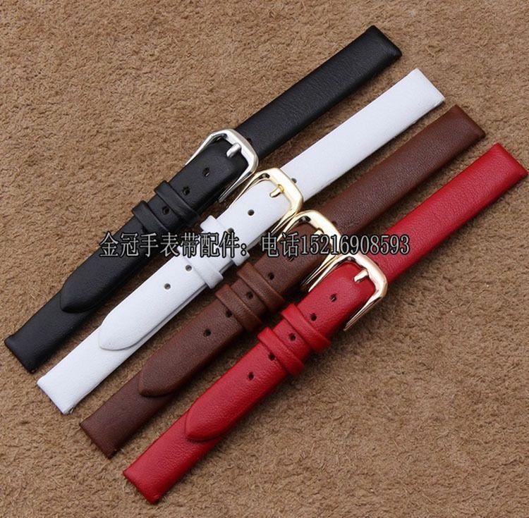 Gros enfant femmes bracelets de montre, 6mm 7mm 8mm 10mm bracelet de montre ceinture, lisse en acier poli boucle fermoir noir marron rouge blanc