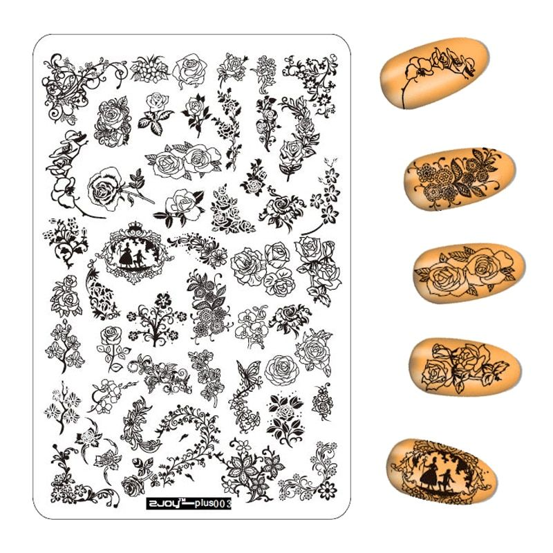 3 шт./лот 9.5*14.5 см с цветочным узором ногтей штамповки Таблички Изображение Штамповка Трафареты для дизайна ногтей маникюр штамп Инструменты