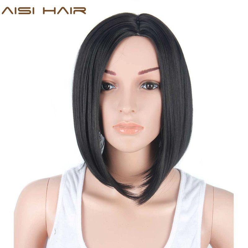 Aisi волос синтетические короткие черные Искусственные парики для Для женщин короткий черный парик Боб вырезать эльфа волос