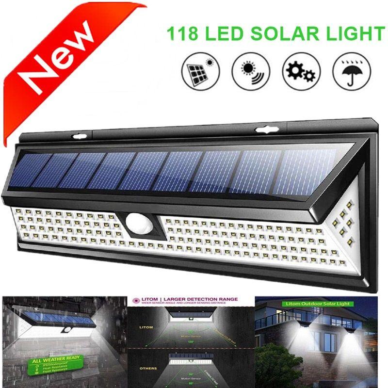 Lampe solaire 118 LED PIR lampe capteur de mouvement à l'extérieur IP65 étanche solaire jardin lumières d'urgence sécurité lumière solaire applique murale