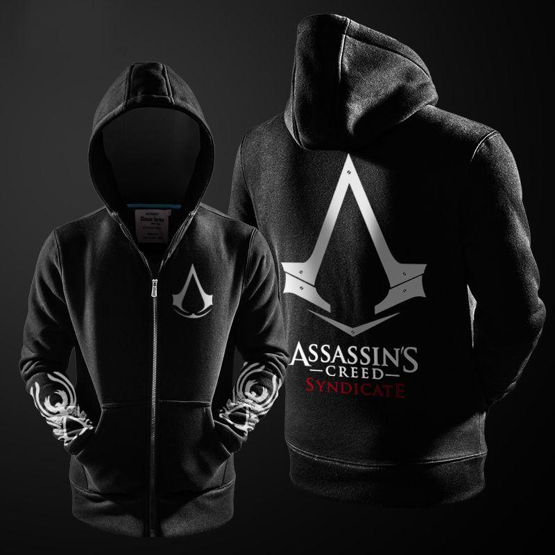 2017 Autumn Winter Assasins Creed Hoodie Men Black Cosplay Sweatshirt Costume Fleece Lined Assassins Creed Mens Hoodies Jackets