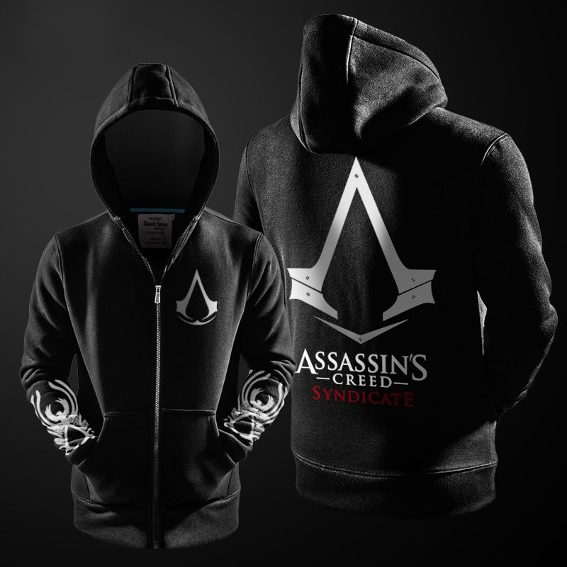 2017 Autumn Winter Assasins Creed Hoodie Men Black Cosplay Sweatshirt Costume Fleece Lined Assassins Creed Mens Hoodies Jackets