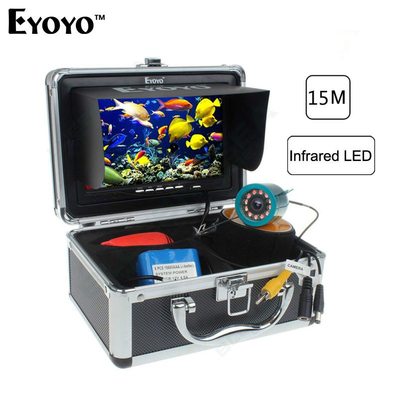 Eyoyo Professional Fish Finder 15M Underwater Camcorders For Fishing Video Camera 12pc Infrared light WIFI Sounder In Russian