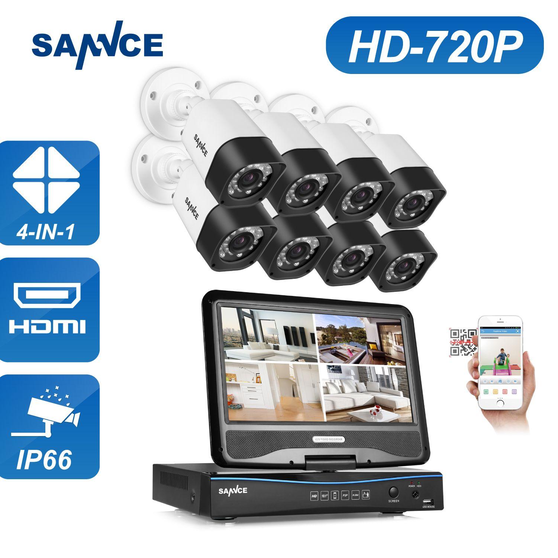 SANNCE 8CH Sicherheit Kamera-system 1080N DVR Neu Anordnen 8 stücke HD 720 P Im Freien Sicherheit CCTV Kamera Überwachungssystem