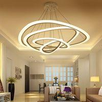 Moderno colgante luces para sala comedor 4/3/2/1 anillos de círculo acrílico LED iluminación de techo lámpara