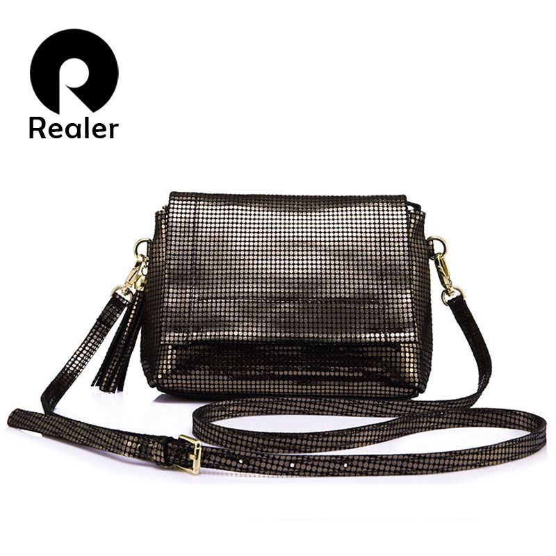 REALER brand <font><b>genuine</b></font> leather women bag female messenger bags with tassel ladies shoulder bag with high quality cow leather