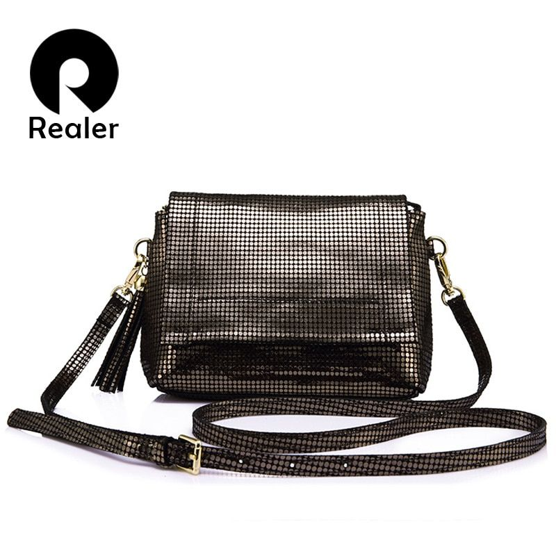 REALER brand genuine leather women bag female messenger bags with tassel ladies shoulder bag with high quality cow leather