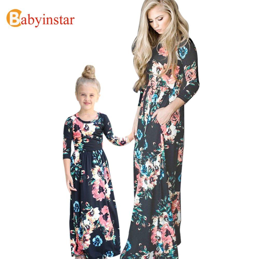 Babyinstar madre hija floral Maxi vestido 2017 nueva primavera otoño vestido largo familia look moda Ropa a juego para familias