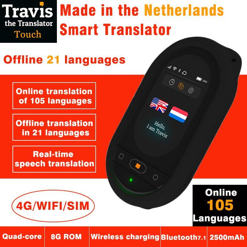 Travis new version voice translator 105 languages touch screen offline online translation Wifi Bluetooth 4G smart translator