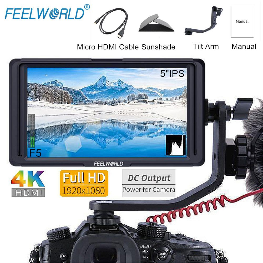 FEELWORLD F5 5 Inch IPS DSLR 4K HDMI Camera Field Monitor FHD 1920x1080 DC Output LCD Monitor for Sony Nikon Etc with Tilt Arm