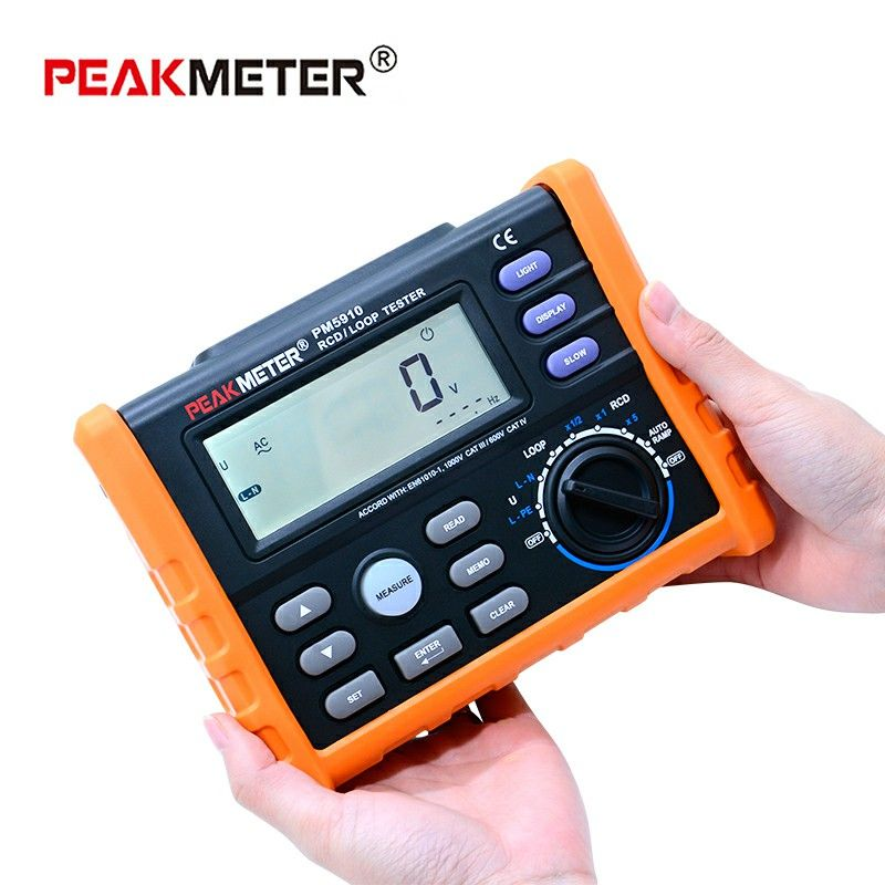 PEAKMETER PM5910 Digital resistance meter RCD loop resistance tester Multimeter Trip-out Current/Time Test with USB Interface