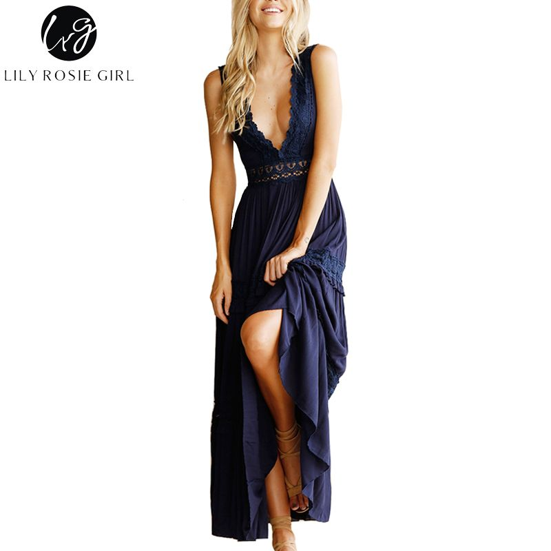 Lily Rosie Girl Sexy Deep V Neck Hollow Out Lace Dess Women Elegant Long Party Club Dresses Sleeveless Maxi Backless Vestidos