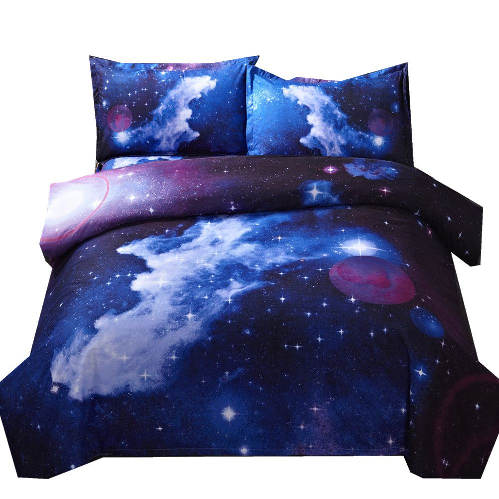 3d Galaxy Duvet Cover Set Single double Twin/Queen 2pcs/3pcs/<font><b>4pcs</b></font> bedding sets Universe Outer Space Themed Bed Linen