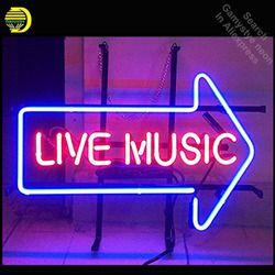 Live Musik Neon Tanda Neon Bohlam Tanda Arrow Kaca Tabung Lampu Neon Rekreasi Bir Kamar Tanda Ikon Mengiklankan Jendela Garasi dinding