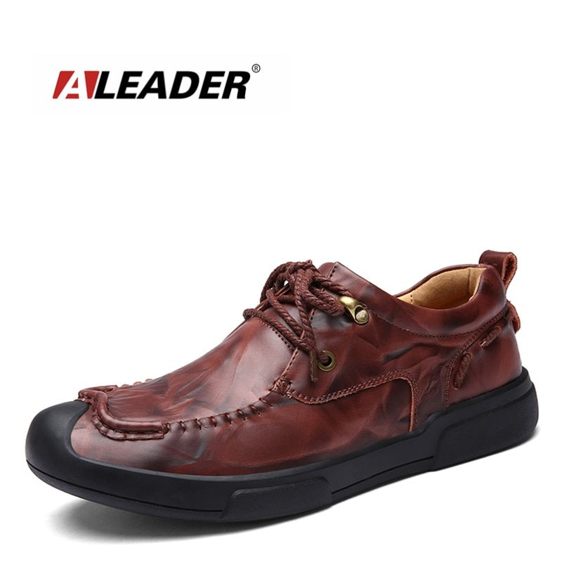 Aleader Mens Leather Casual Shoes Fashion Luxury Brand Shoes Men Flats Lace Up Black Men Oxfords Business Shoes Zapatos Hombres