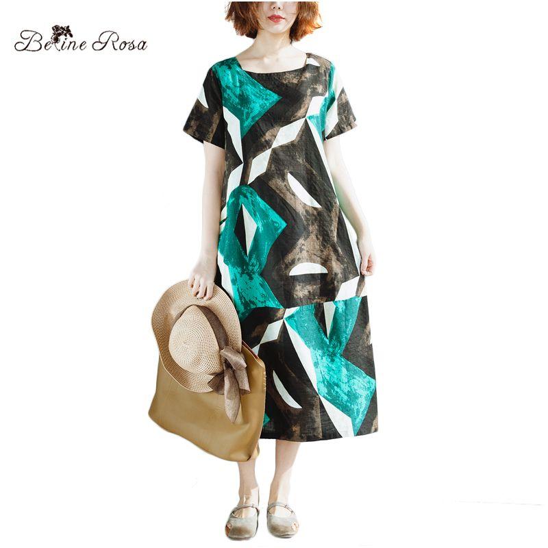 BelineRosa 2018 Women Summer Dress European Casual Style <font><b>Hit</b></font> Color Geometric Printing Short Sleeve Casual Dresses ZRK00052