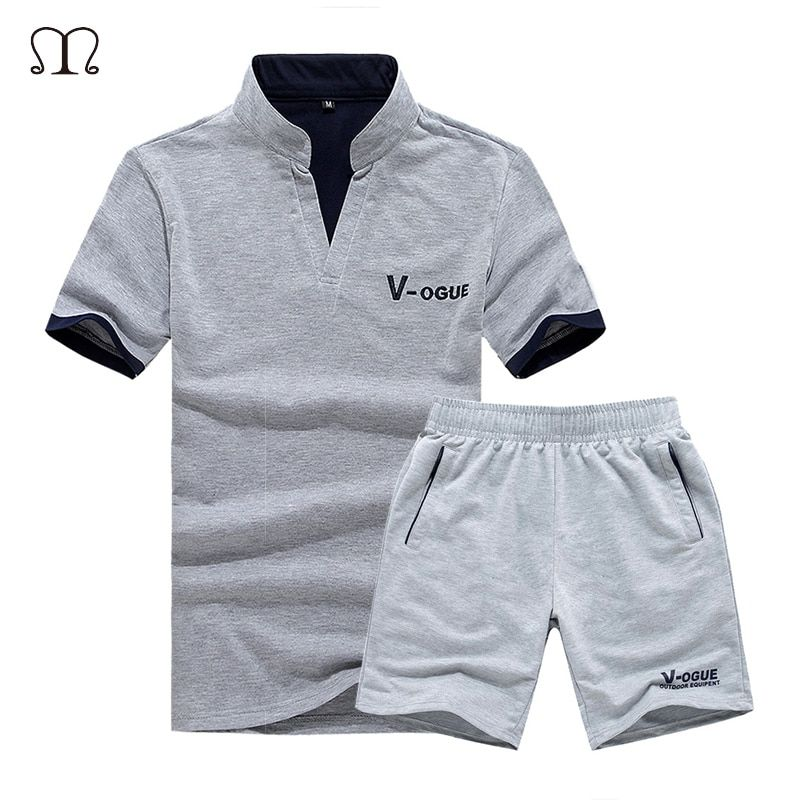 2018 Brand Casual Suit Men Summer Sets <font><b>Active</b></font> Tracksuits for Mens Stand Collar s Vetement Homme Streetwar Tops Tees & Shorts Set